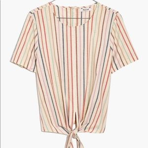 Madewell Button-Back Tie Shirt Rainbow Stripe